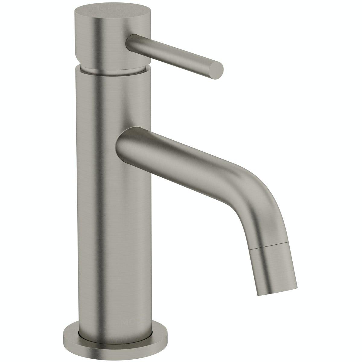 Mode Spencer round brushed nickel basin mixer tap