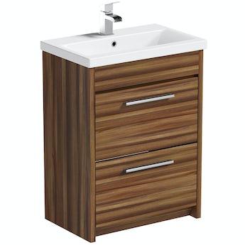 Smart walnut vanity drawer unit with basin 600mm