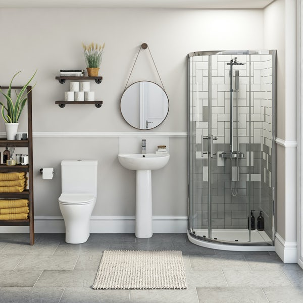 Orchard Derwent Compact ensuite suite with quadrant enclosure, tray and taps
