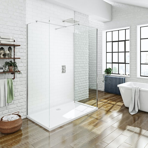 Mode luxury 8mm 3 sided  walk in shower enclosure pack with shower tray 1700 x 800