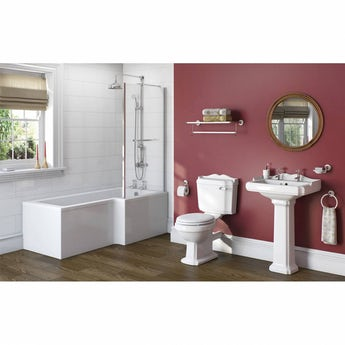 The Bath Co. Winchester bathroom suite with right handed L shaped shower bath 1700 x 850