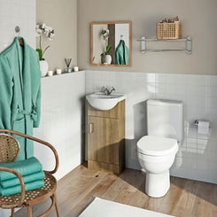 Sienna oak cloakroom unit with Energy close coupled toilet
