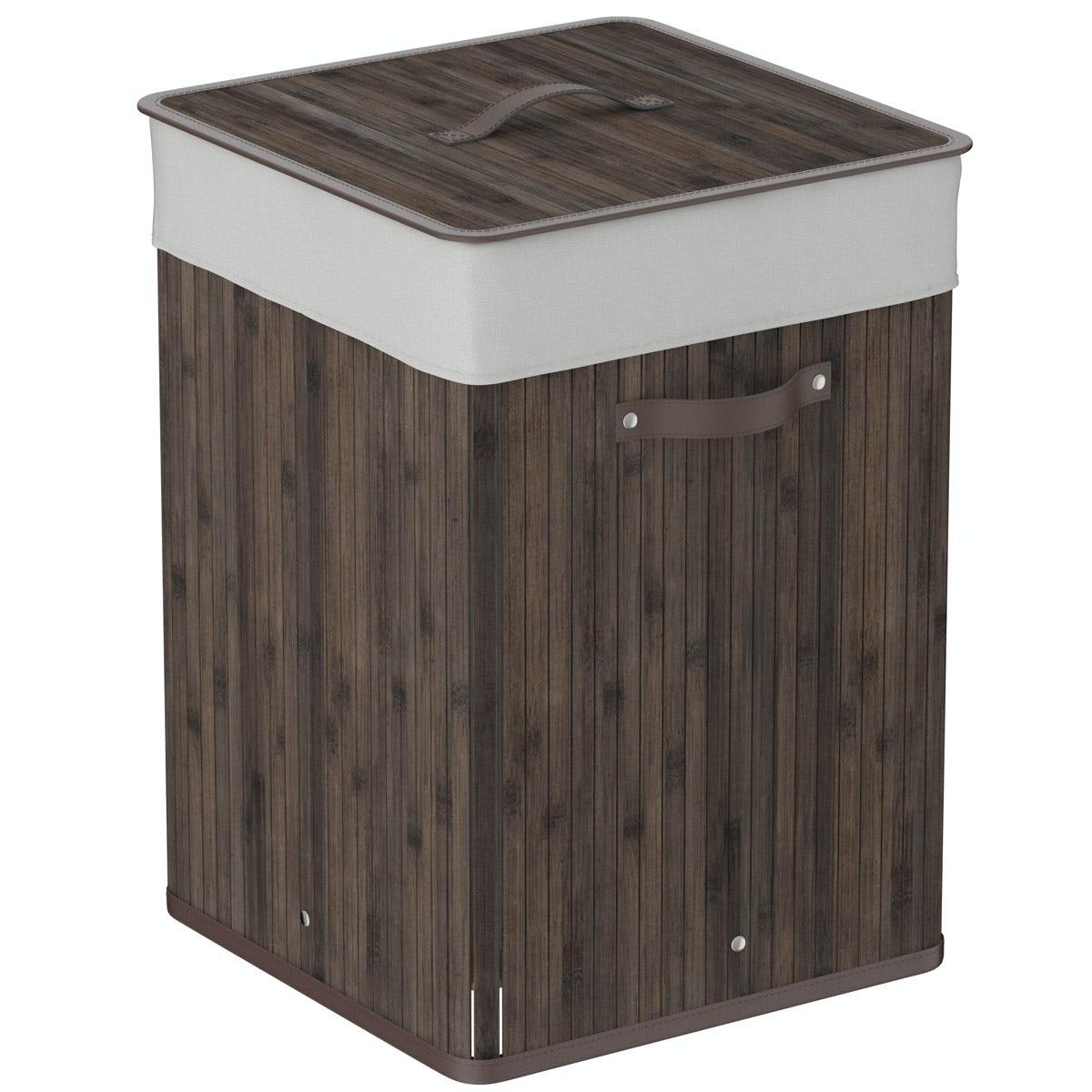 Natural bamboo dark brown square laundry basket