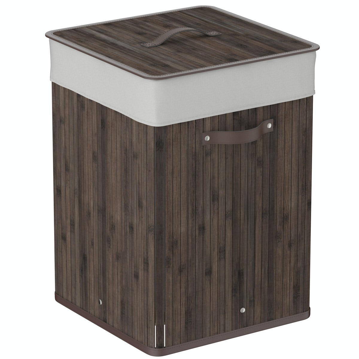 Orchard Natural bamboo dark brown square laundry basket