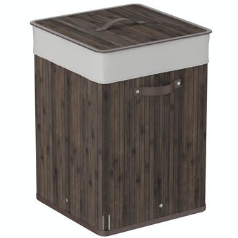 Natural bamboo dark brown square laundry basket