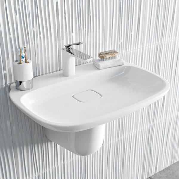 Aalto basin mixer tap white