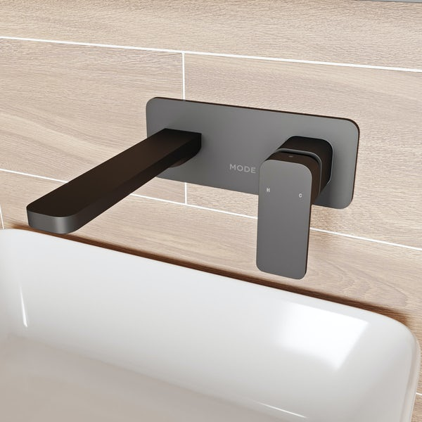 Mode Spencer square wall mounted black basin mixer tap