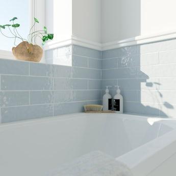 Laura Ashley Artisan seaspray blue gloss wall tile 75mm x 300mm