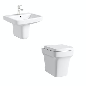 Mode Ive back to wall toilet and semi pedestal basin suite