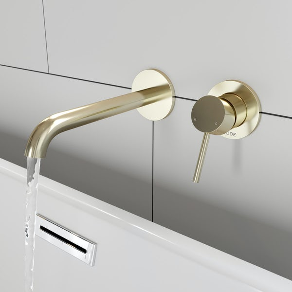 Mode Spencer round wall mounted gold bath mixer tap