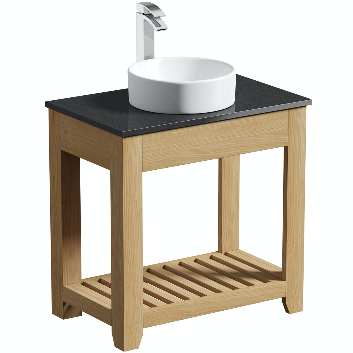 The Bath Co. Hoxton oak washstand with black marble top and Calhoun basin 800mm