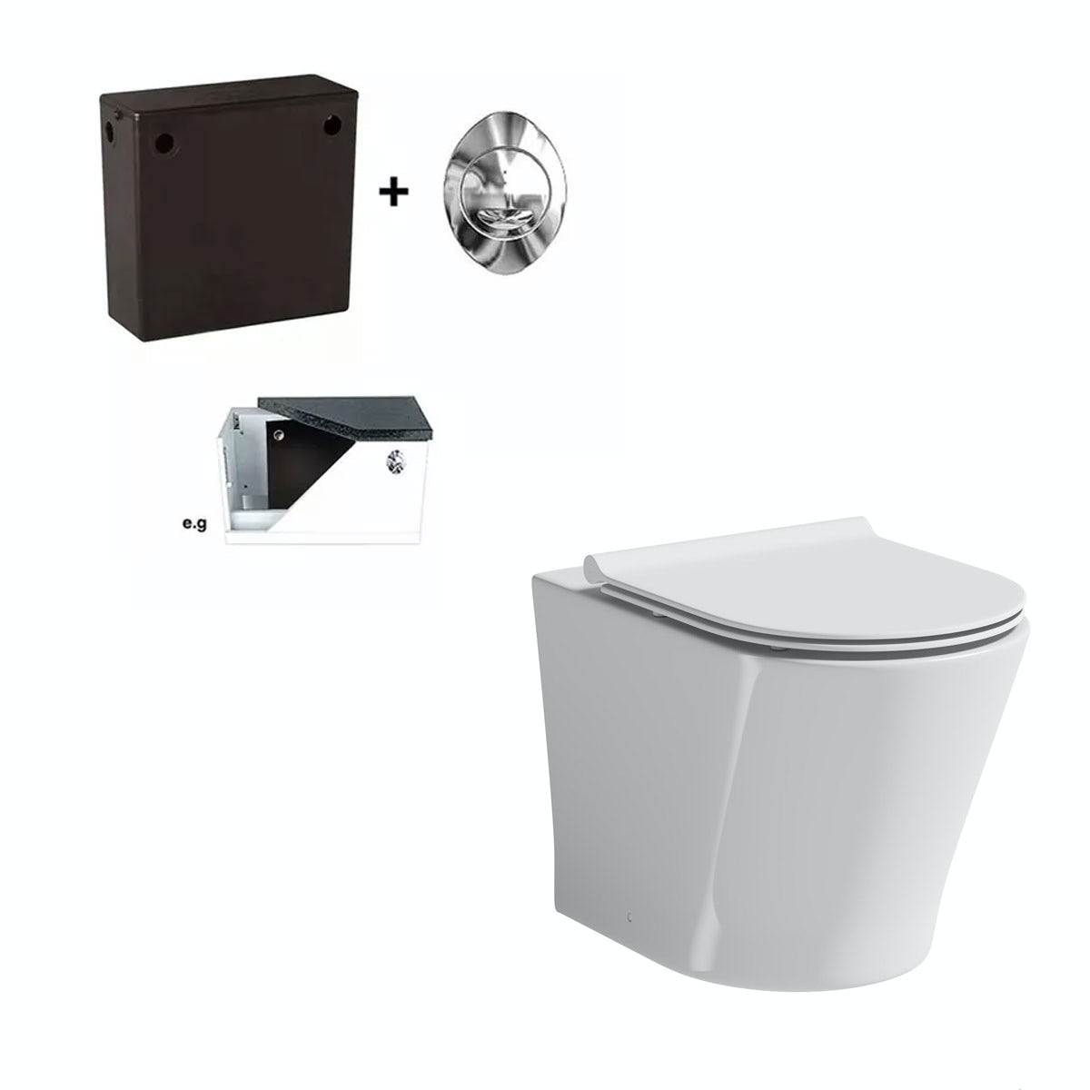 Mode Tate back to wall toilet with slim soft close seat and concealed cistern