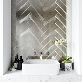 British Ceramic Tile Metallic silver wall tile 75mm x 300mm