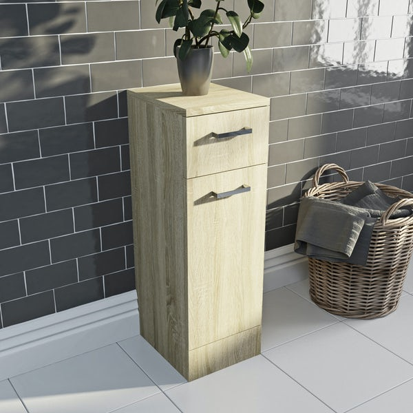 Orchard Eden oak double basin & linen basket combination