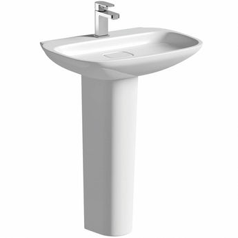 Mode Fairbanks 1 tap hole full pedestal basin 600mm with waste