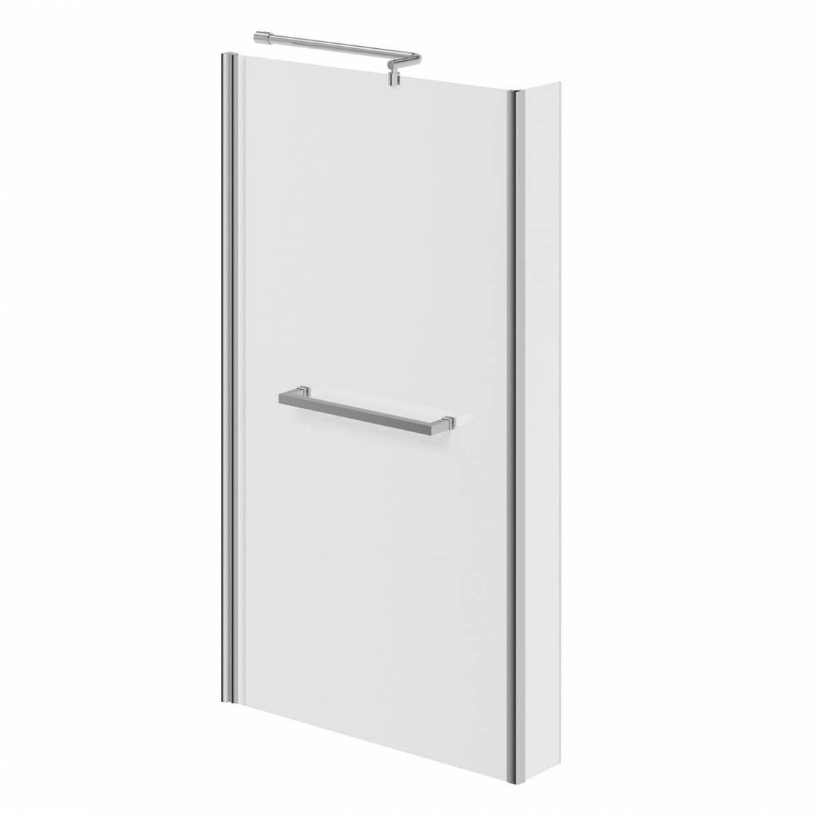 6mm L shaped shower bath screen with rail