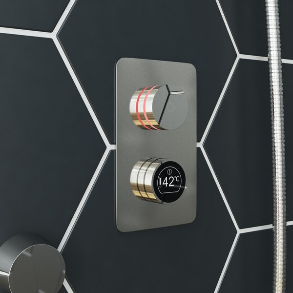 Mode Touch digital thermostatic shower set with square ceiling arm and bath filler waste