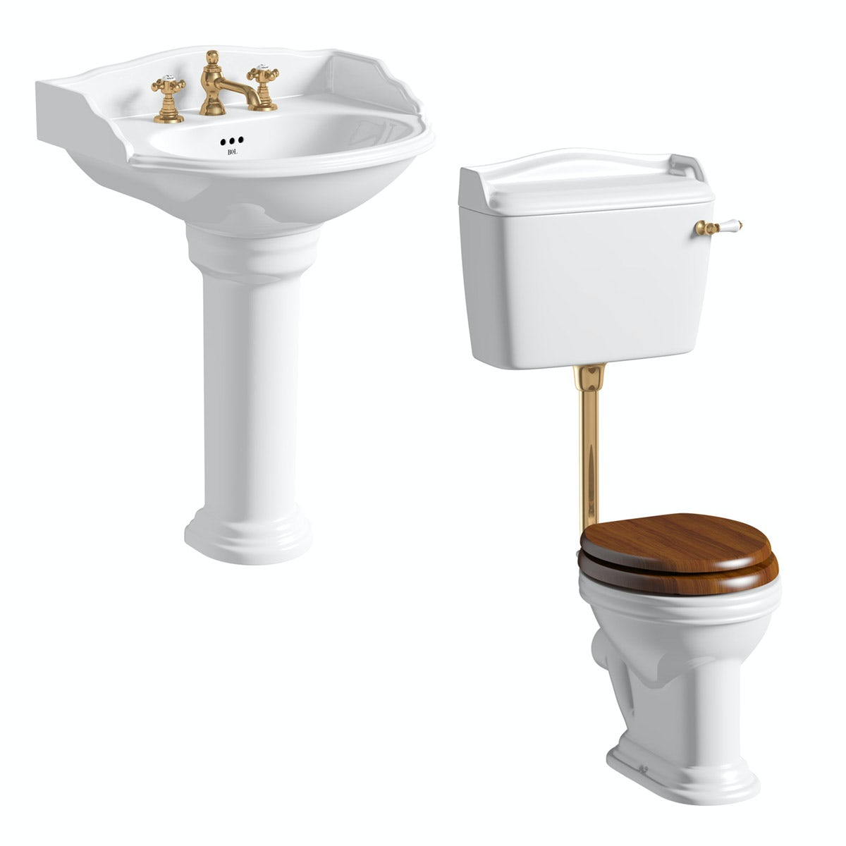 Belle de Louvain Bellini low level toilet and full pedestal suite with incalux fittings and taps