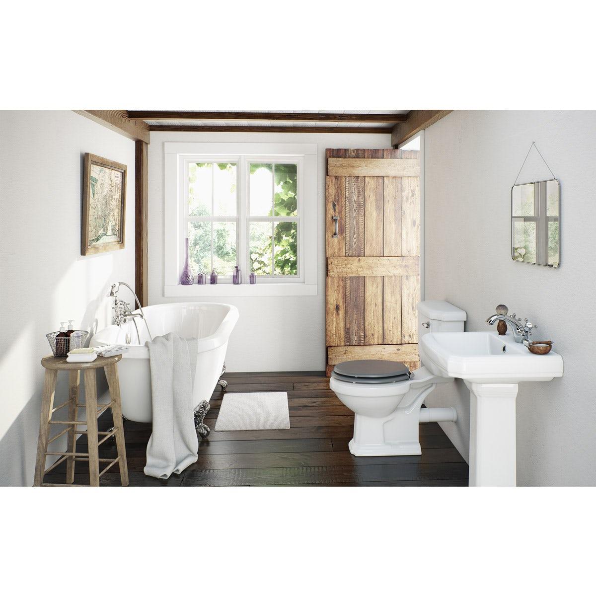 The Bath Co. Dulwich grey bathroom suite with roll top bath