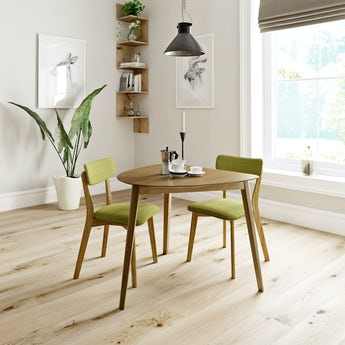 Ernest oak apartment table with 2 x Ernest green dining chairs