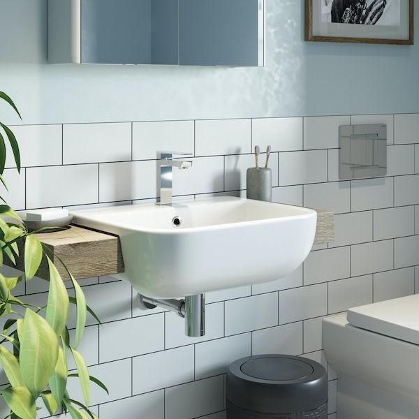 RAK Series 600 semi recessed basin with 1 tap hole 420mm