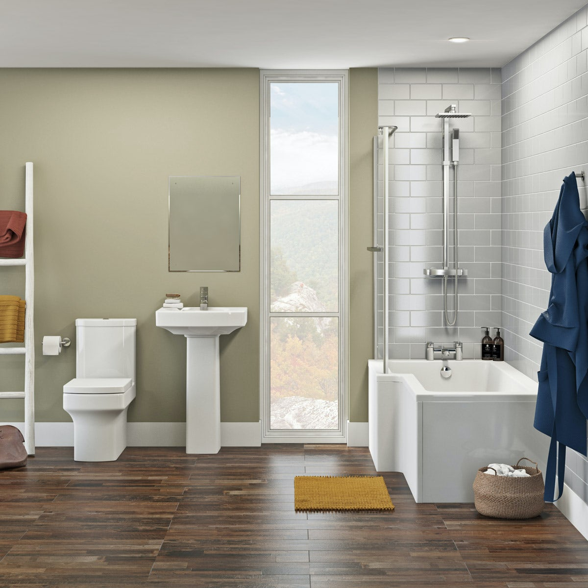 Orchard Wye bathroom suite with left handed L shaped shower bath 1700 x 850