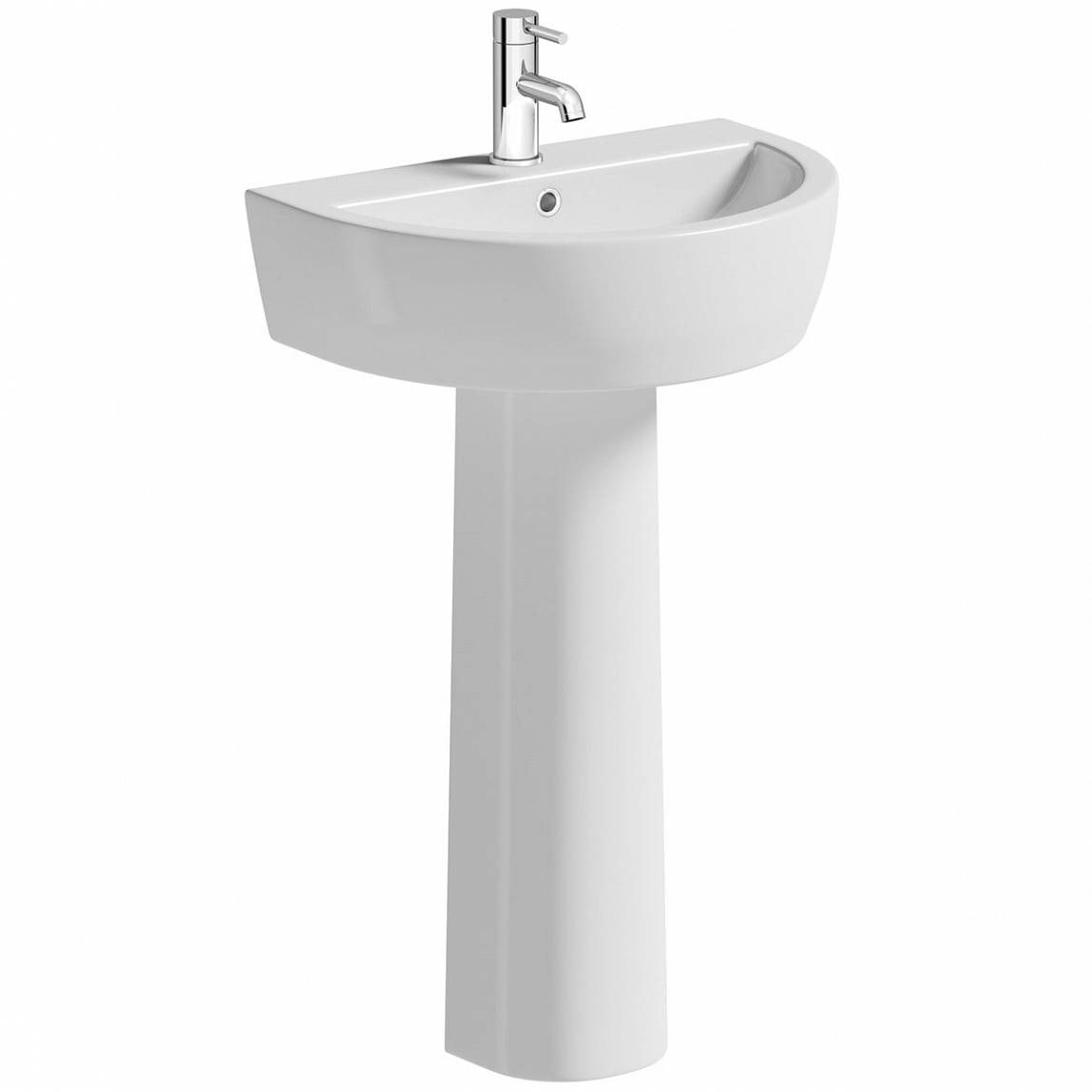 Mode Tate 1 tap hole full pedestal basin 550mm with waste
