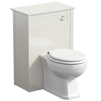 The Bath Co. Camberley ivory back to wall unit and traditional toilet with white wooden seat