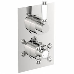 Traditional square twin thermostatic shower valve with diverter