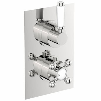 The Bath Co. Traditional square twin thermostatic shower valve with diverter offer pack