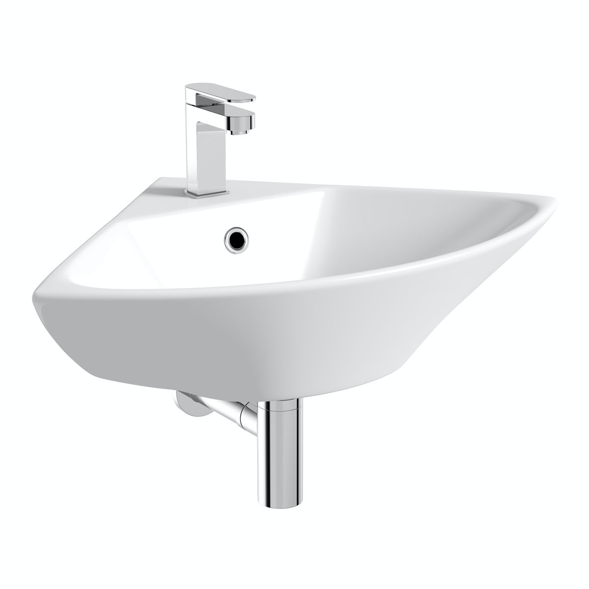 Orchard Derwent corner 1 tap hole cloakroom wall mounted basin 450mm