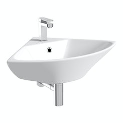 Compact corner wall mounted basin