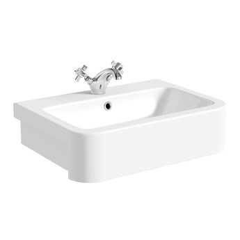 The Bath Co. Dulwich semi recessed basin with waste