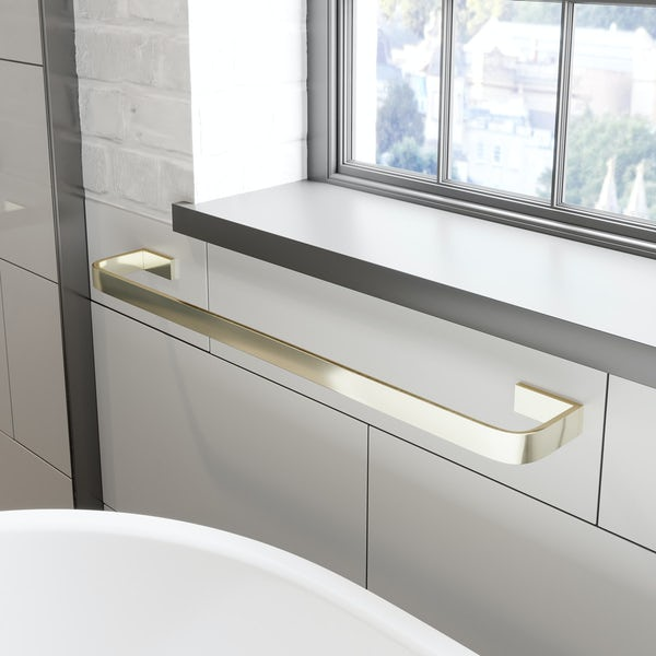 Mode Spencer gold square single towel rail 600mm