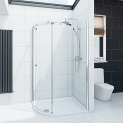 Infiniti 8mm single sliding door left handed quadrant shower enclosure 900 x 760 offer pack