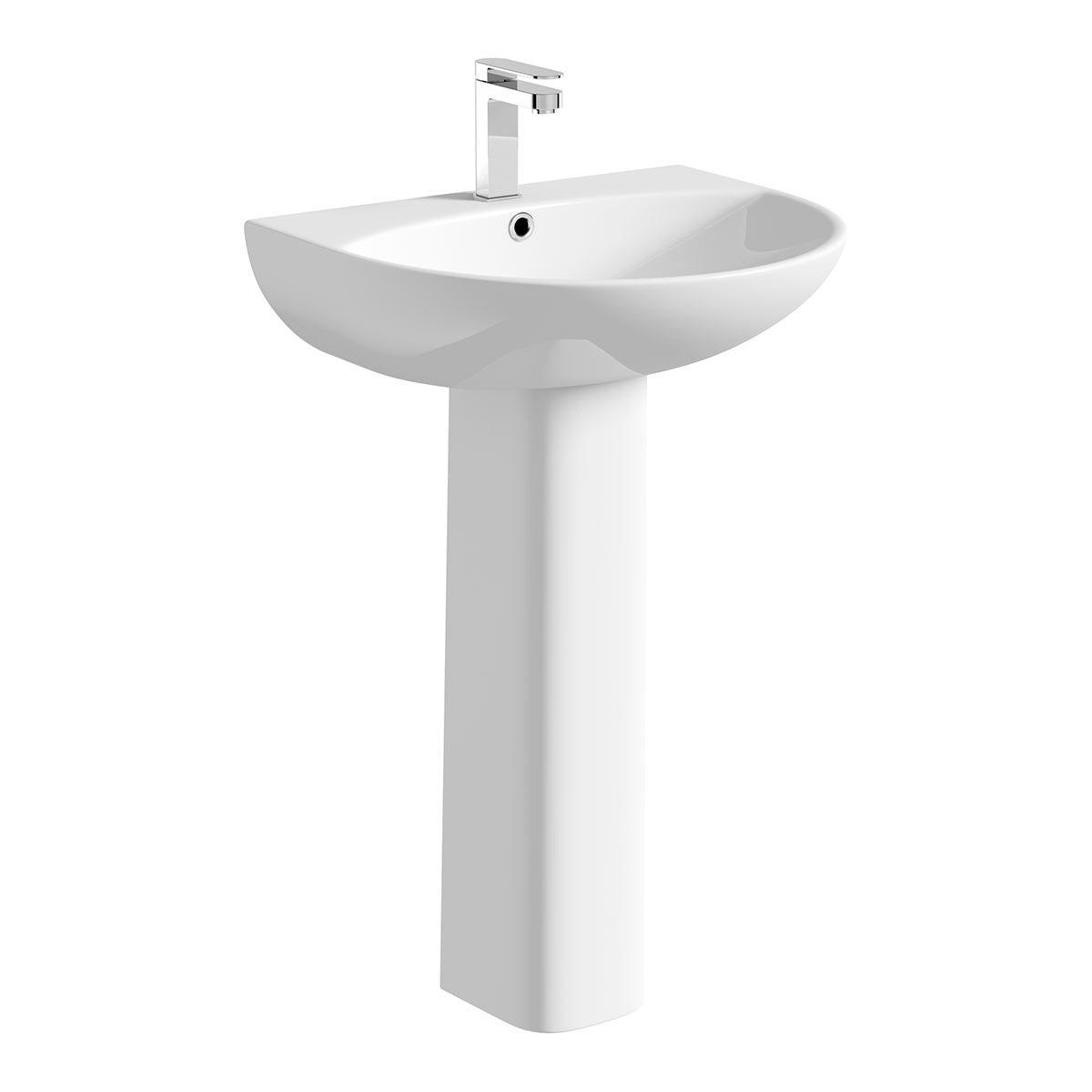 Orchard Derwent round 1 tap hole full pedestal basin 550mm with waste