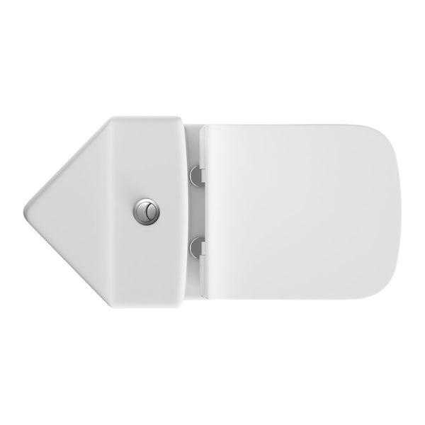 Derwent Square corner close coupled toilet with slimline soft close toilet seat