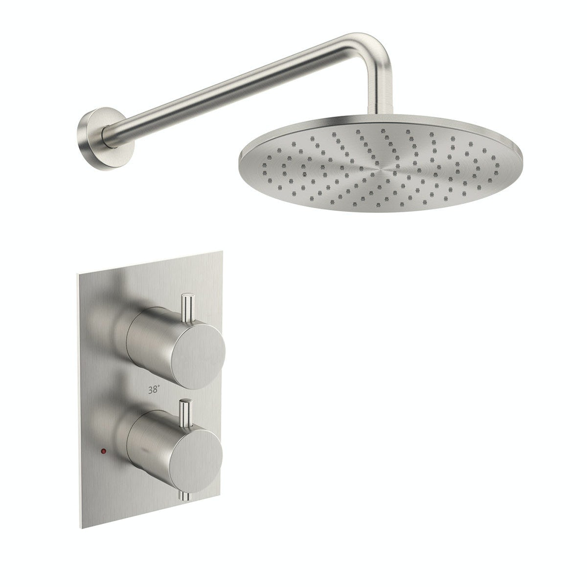 Mode Spencer square round thermostatic twin valve brushed nickel shower set - 250 mm- 0.5 BAR - Sold by Victoria Plum