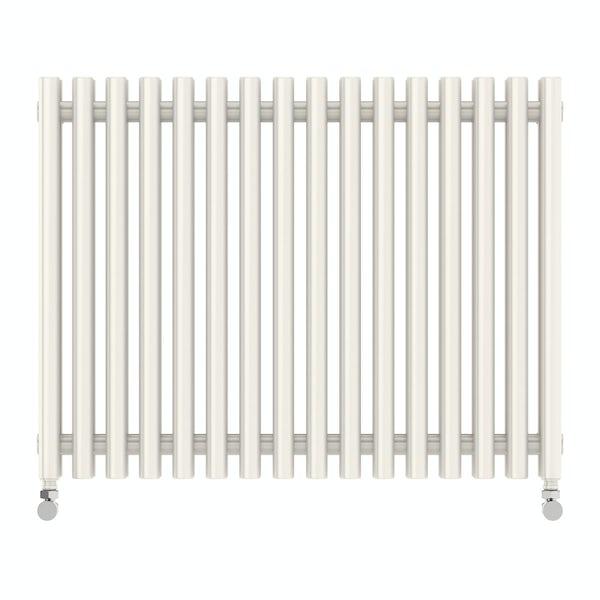 Tune soft white double horizontal radiator 600 x 790