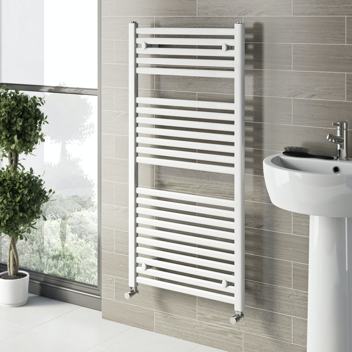 free delivery white heated towel rail x 600 - Heated Towel Rack