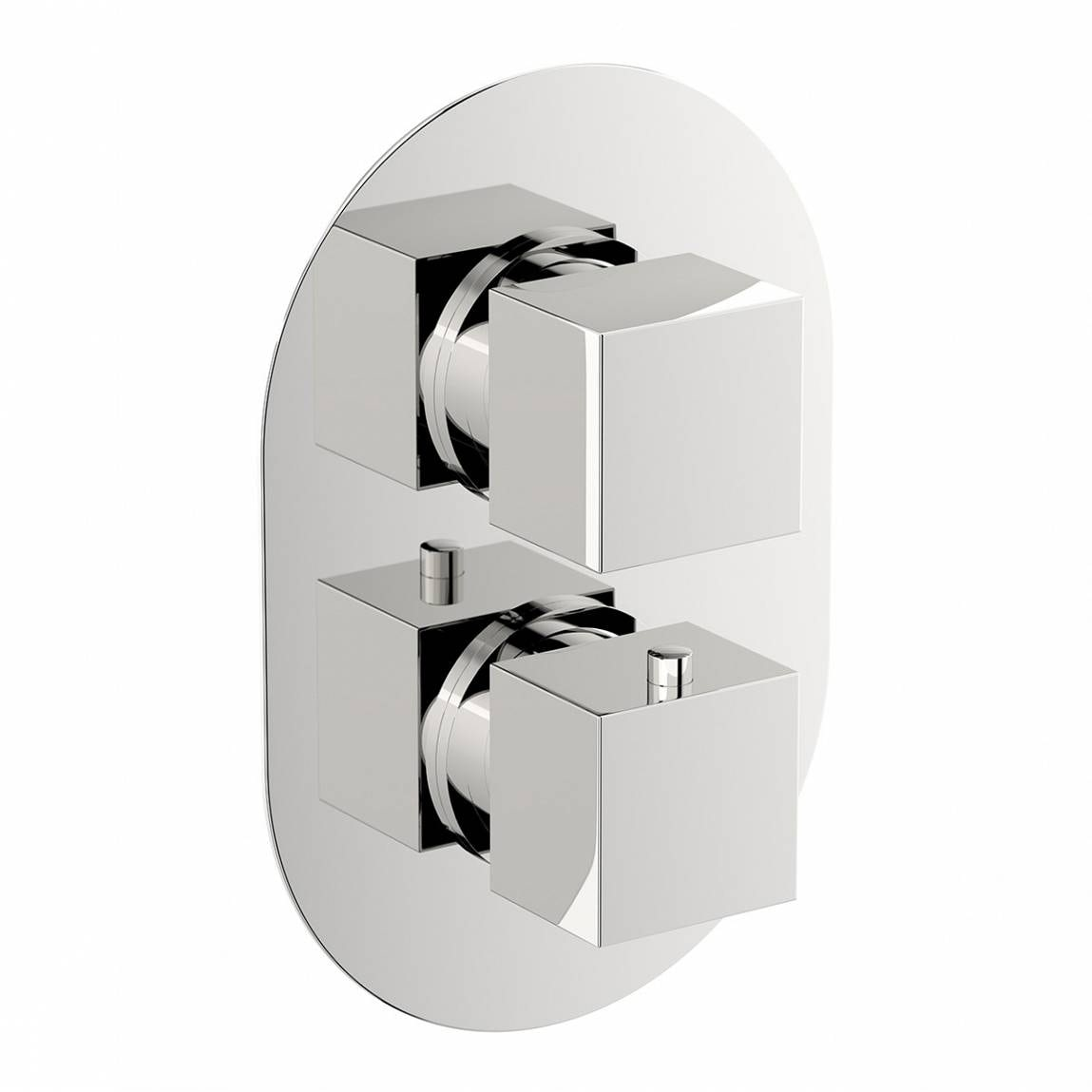 Image of Mode Cubik oval twin thermostatic shower valve