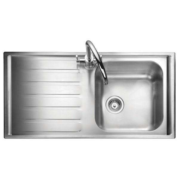 Rangemaster Manhattan 1 bowl left handed kitchen sink with waste kit