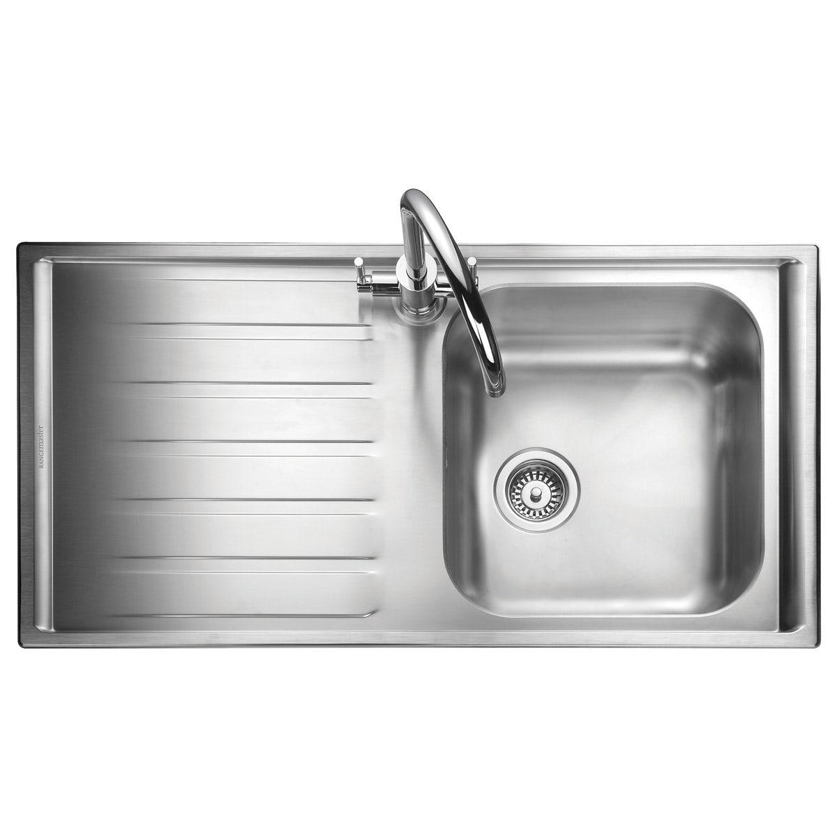 Rangemaster Manhattan 1.0 bowl left handed kitchen sink with waste kit