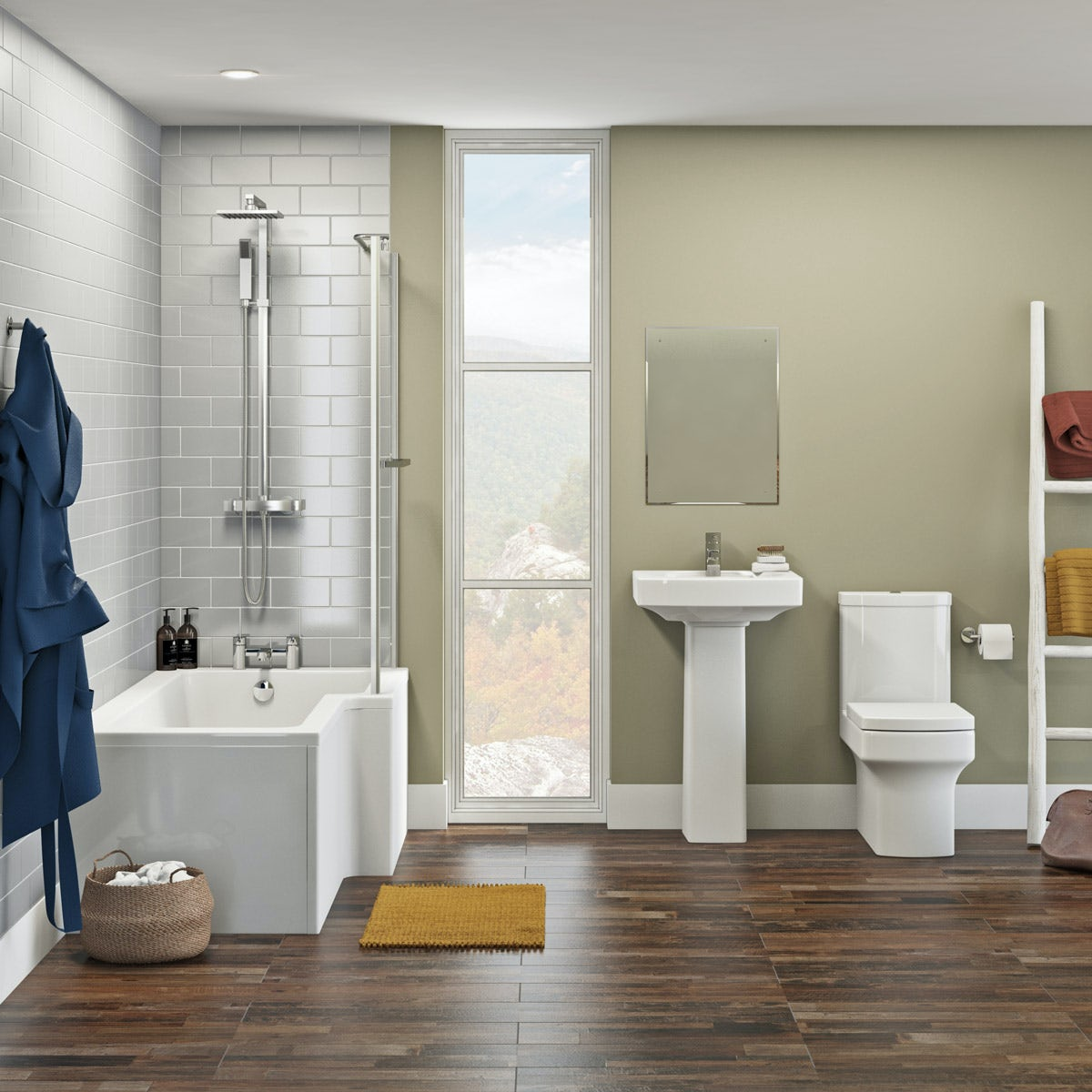 Orchard Wye bathroom suite with right handed L shaped shower bath 1700 x 850