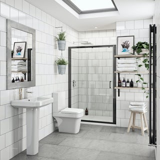 Carter bathroom suite with 6mm black shower door 1200