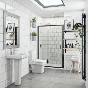 Mode Carter bathroom suite with 6mm black shower door 1200mm