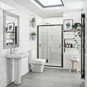 Mode Carter bathroom suite with 6mm black shower door 1200mm