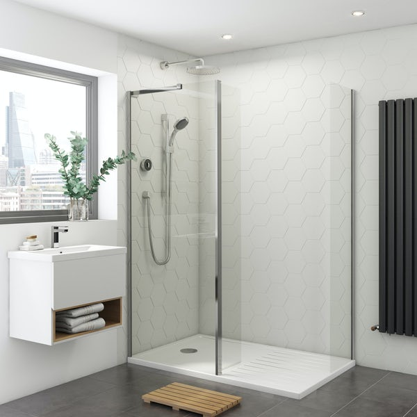 Mira and Mode walk in enclosure and tray bundle with Mira Platinum digital shower