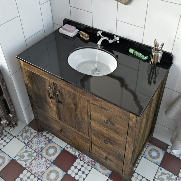 The Bath Co. Dalston vanity unit and black marble basin 900mm