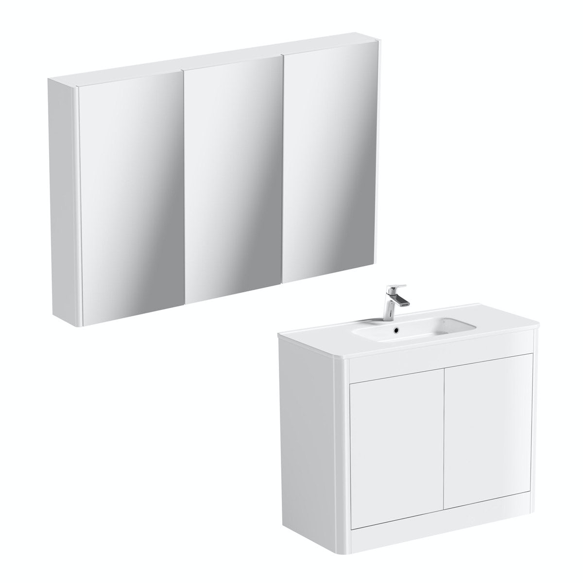 Mode Carter ice white vanity unit 1000mm and mirror